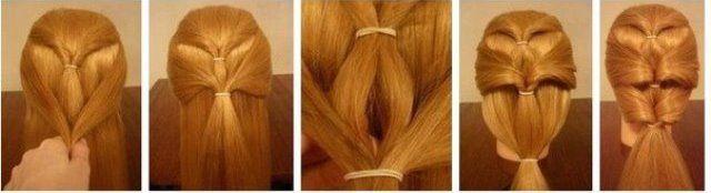 Как сделать косу из хвостиков с резинками пошагово